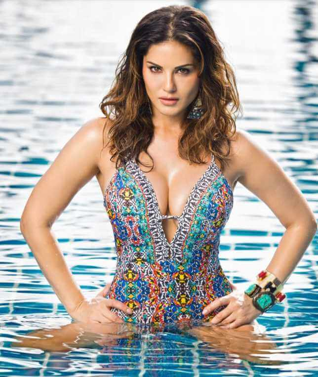 Sunny Leone with swimming pool