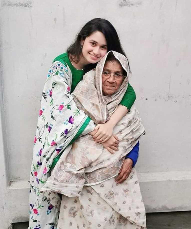 Jannatul Ferdous Oishee with her grandmother