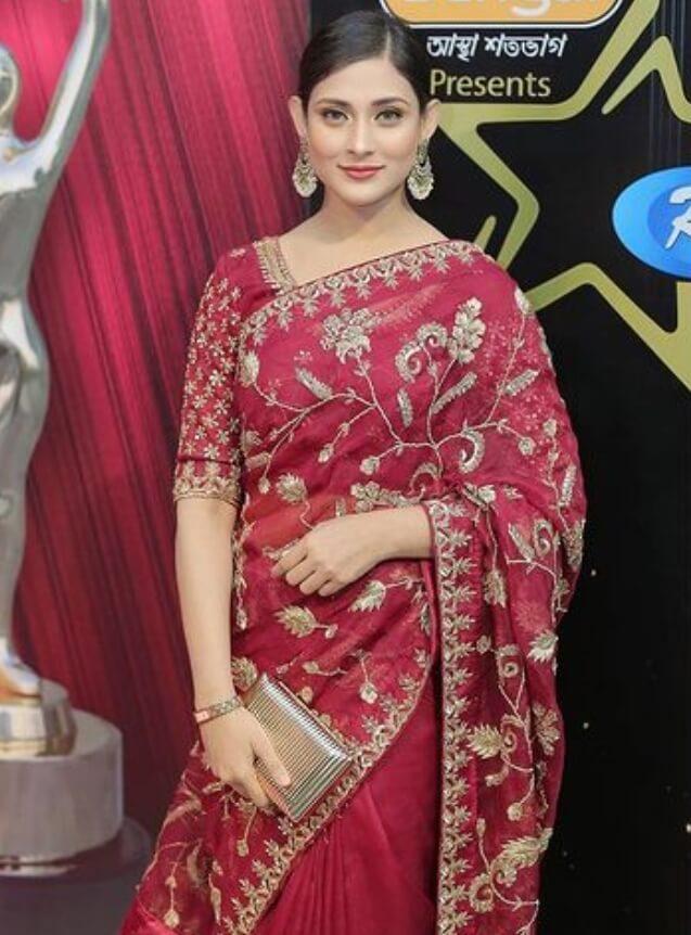 Mehazabien Chowdhury Red Saree Picture