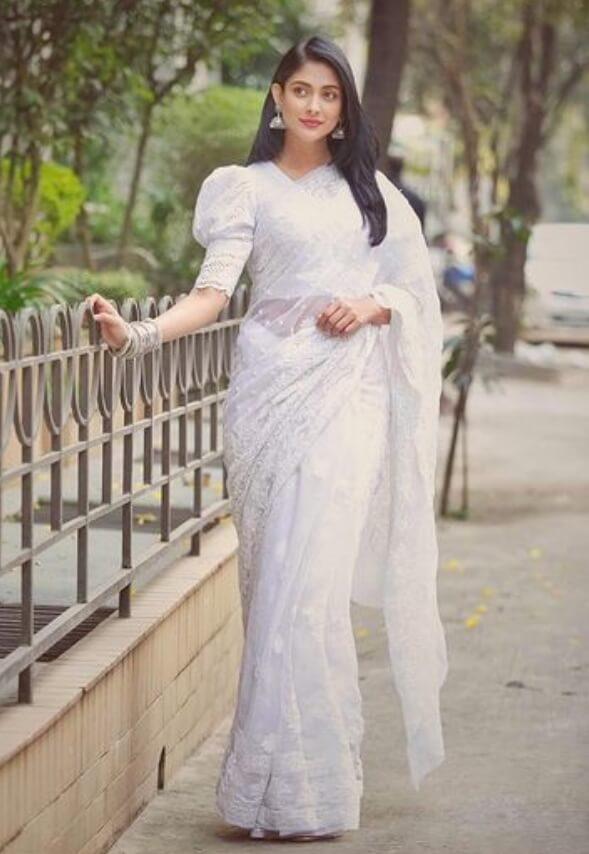 Mehazabien Chowdhury White Saree Image