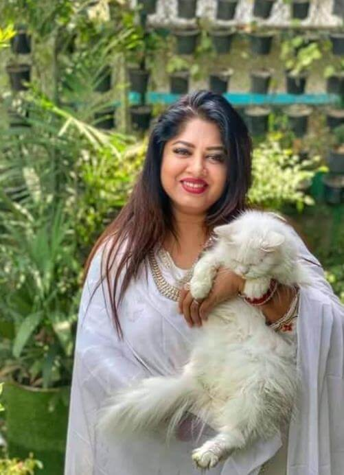Moushumi with her Cat Picture
