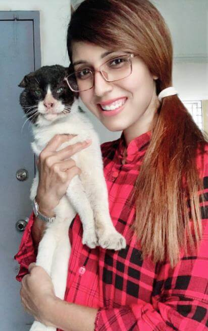 Naila Nayem with her Cat