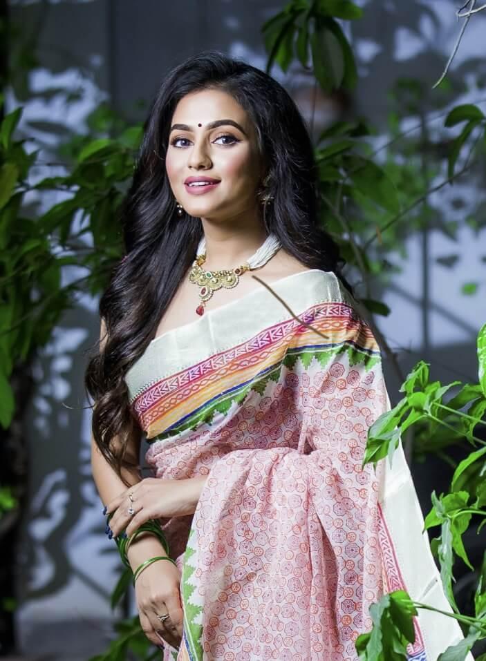 Actress Nusraat Faria and a beautiful saree