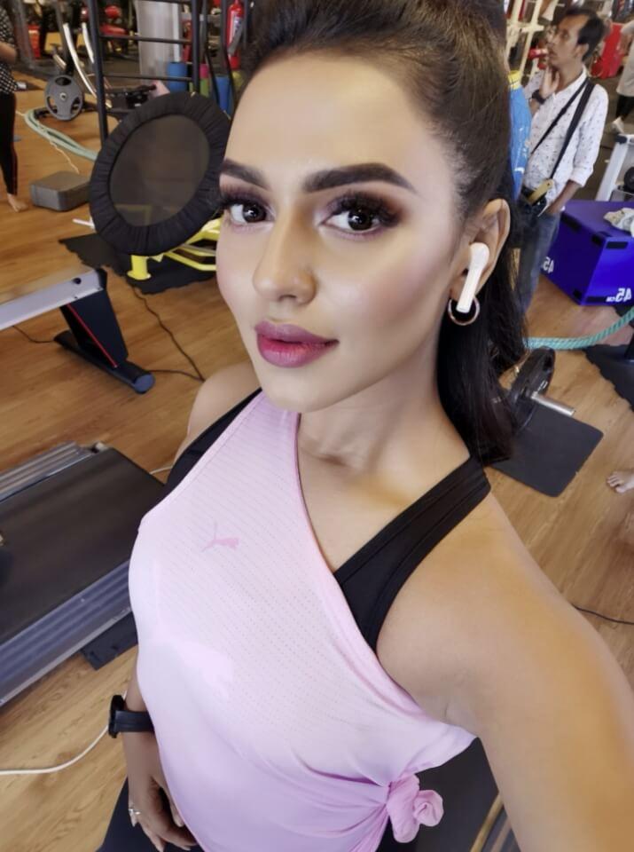 Bangladeshi actress Nusrat Faria at gym image