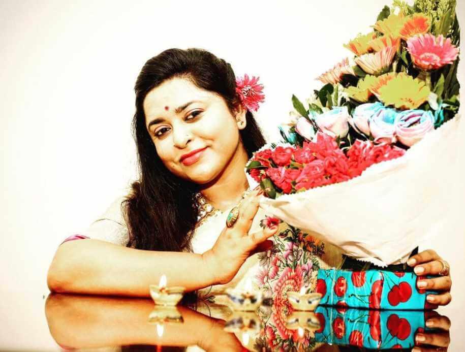 Jyotika Jyoti with Flowers