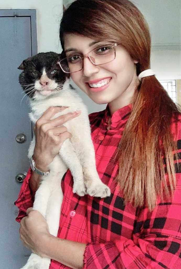 Naila Nayem with Cat Picture