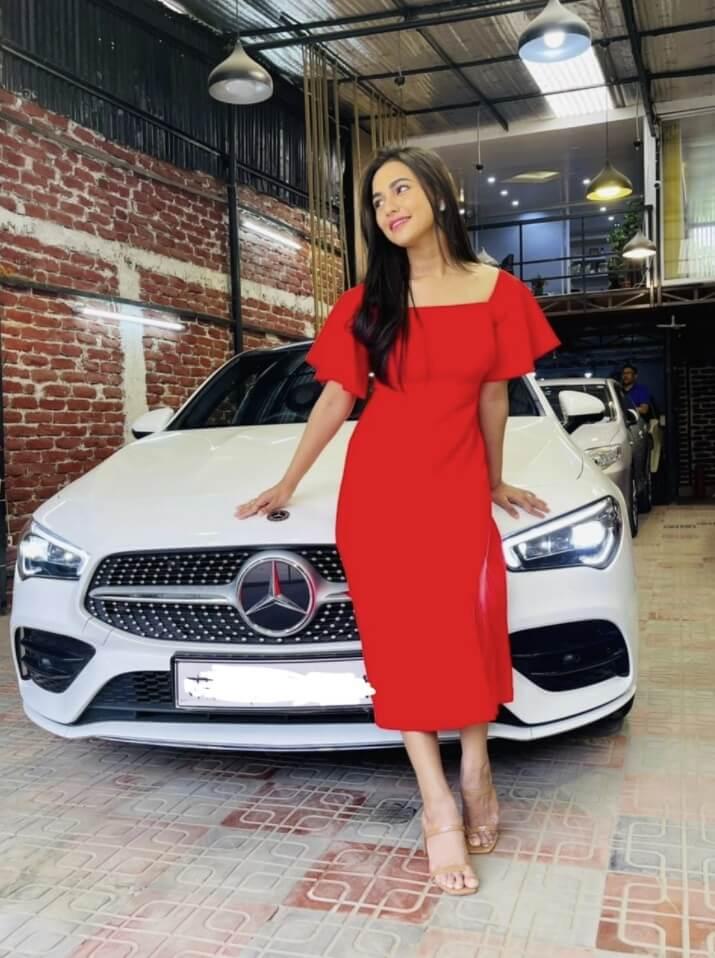 Nusrat Faria Mazhar with her luxury car