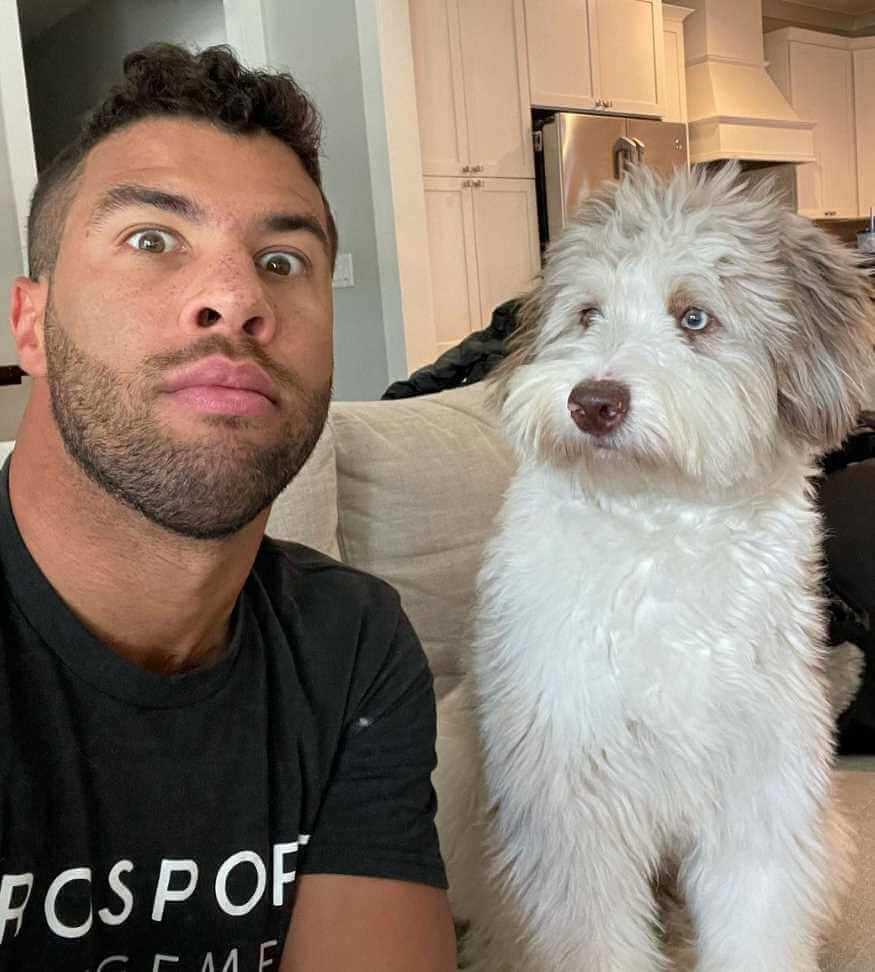 Bubba Wallace with Dog Picture